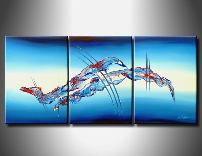 Handmade Art deco Modern abstract oil painting on Canvas set 09059