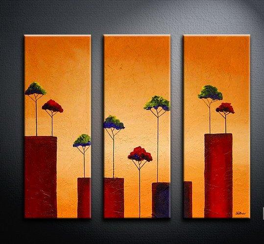 Handmade Art deco Modern tree oil painting on Canvas set 09061