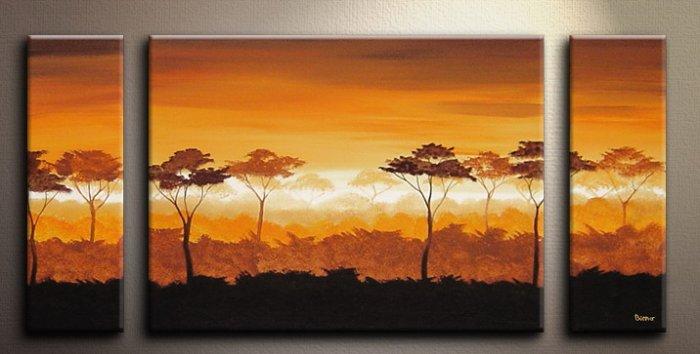 Handmade Art deco Modern tree oil painting on Canvas set 09062