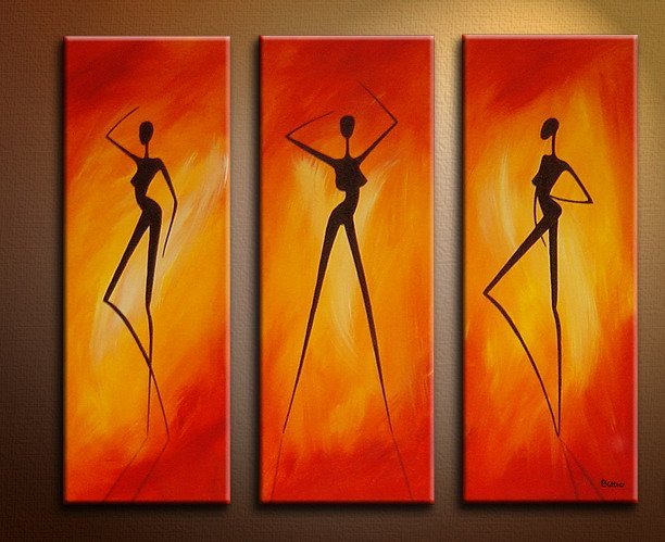 Handmade Art deco Modern nude oil painting on Canvas set 09063