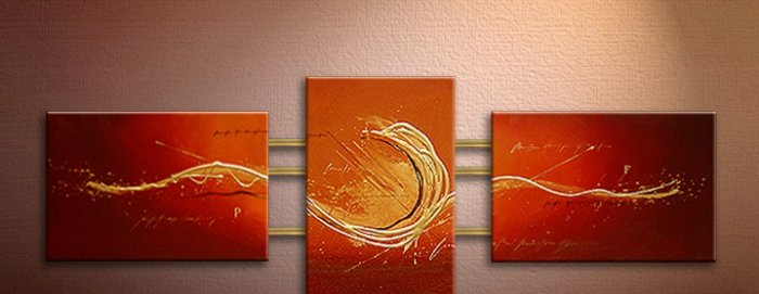 Handmade Art deco Modern abstract oil painting on Canvas set 09070