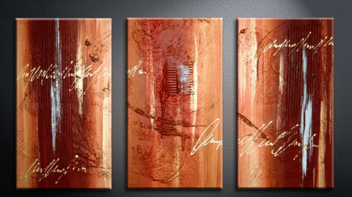 Handmade Art deco Modern abstract oil painting on Canvas set 09075