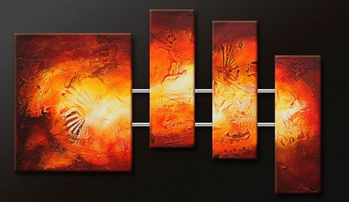 Handmade Art deco Modern abstract oil painting on Canvas set 09153