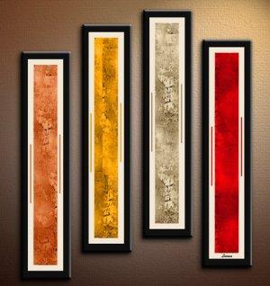 Handmade Art deco Modern abstract oil painting on Canvas set 09199