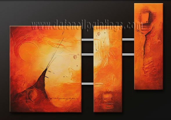 Handmade Art deco Modern abstract oil painting on Canvas set 09127