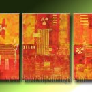 Handmade Art deco Modern abstract oil painting on Canvas set 09221