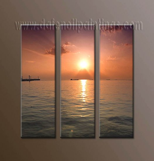 100% handmade Art deco Modern setting sun oil paintings on Canvas set10021