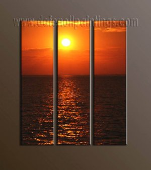 100% handmade Art deco Modern setting sun oil paintings on Canvas set10022
