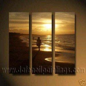 100% handmade Art deco Modern seacoast oil paintings on Canvas set10024