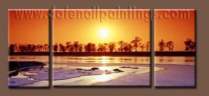 100% handmade Art deco Modern setting sun oil paintings on Canvas set10026