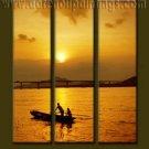100% handmade Art deco Modern setting sun oil paintings on Canvas set10028