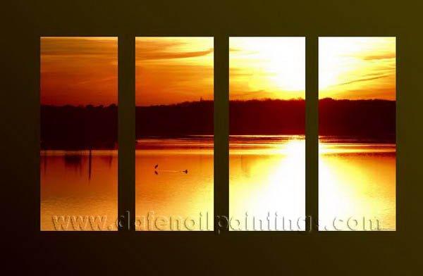 Handmade Art deco Modern setting sun oil painting on Canvas set 10030
