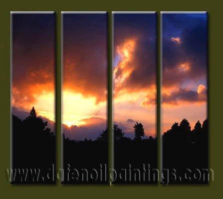 Handmade Art deco Modern setting sun oil painting on Canvas set 10031