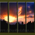 Handmade Art deco Modern setting sun oil painting on Canvas set 10031