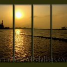 Handmade Art deco Modern setting sun oil painting on Canvas set 10032