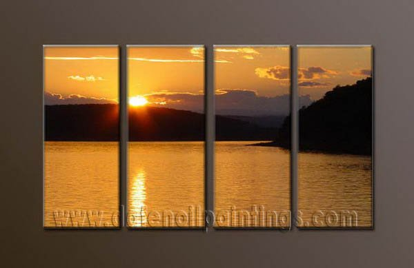 Handmade Art deco Modern setting sun oil painting on Canvas set 10033