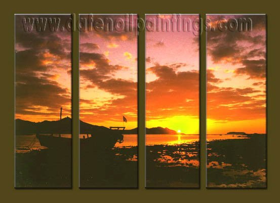 Handmade Art deco Modern setting sun oil painting on Canvas set 10034