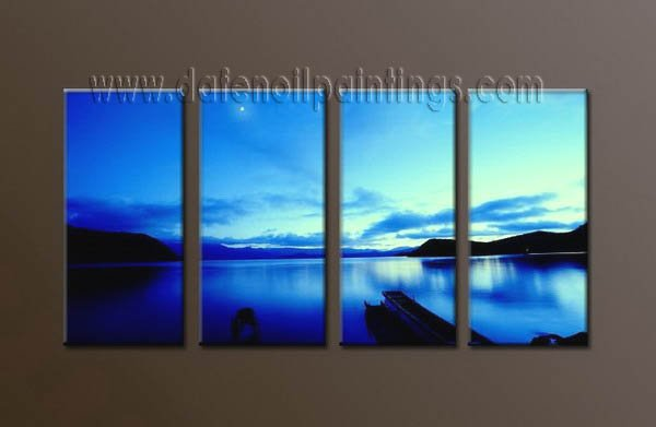 Handmade Art deco Modern seascape oil painting on Canvas set 10036