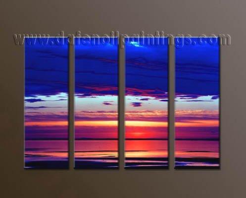 Handmade Art deco Modern seascape oil painting on Canvas set 10037