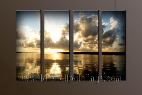 Handmade Art deco Modern setting sun oil painting on Canvas set 10038