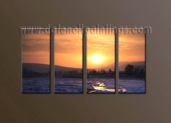 Handmade Art deco Modern setting sun oil painting on Canvas set 10039