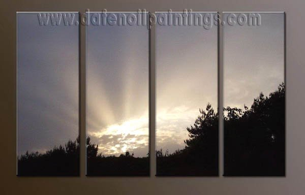 Handmade Art deco Modern setting sun oil painting on Canvas set 10040