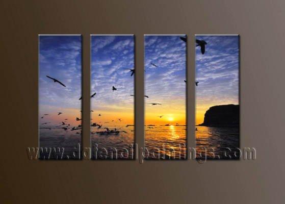 Handmade Art deco Modern setting sun oil painting on Canvas set 10044