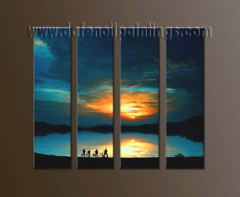 Handmade Art deco Modern setting sun oil painting on Canvas set 10046