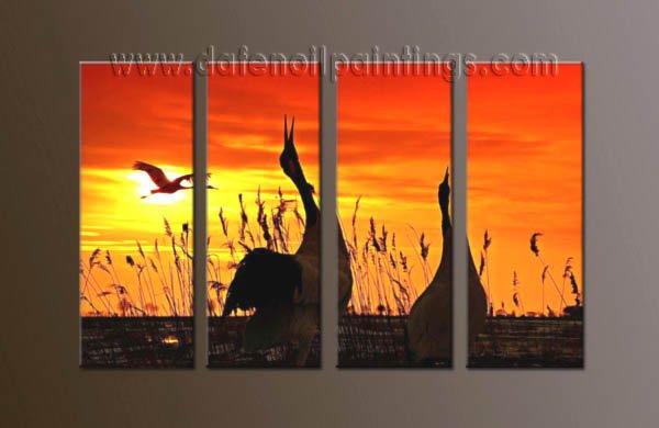 Handmade Art deco Modern setting sun oil painting on Canvas set 10049