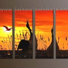 Handmade Art deco Modern setting sun oil painting on Canvas set 10049