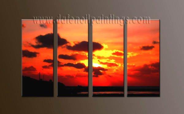 Handmade Art deco Modern setting sun oil painting on Canvas set 10052