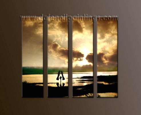 Modern Contemporary oil paintings on Canvas sunrise painting set10054