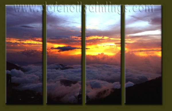 Modern Contemporary oil paintings on Canvas sunrise painting set10057