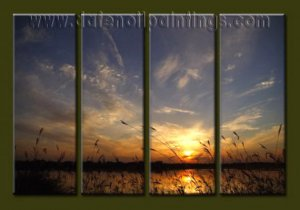 Modern Contemporary oil paintings on Canvas sunrise painting set10063