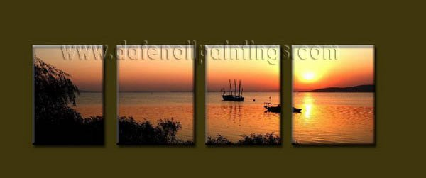 Modern Contemporary oil paintings on Canvas sunrise painting set10064