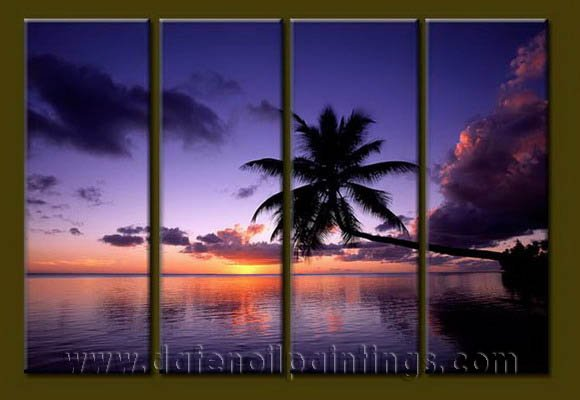 Modern Contemporary oil paintings on Canvas sunrise painting set10068