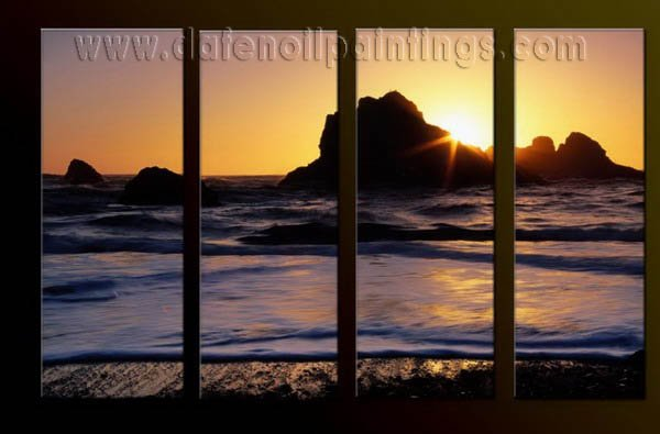 Modern Contemporary oil paintings on Canvas sunrise painting set10069