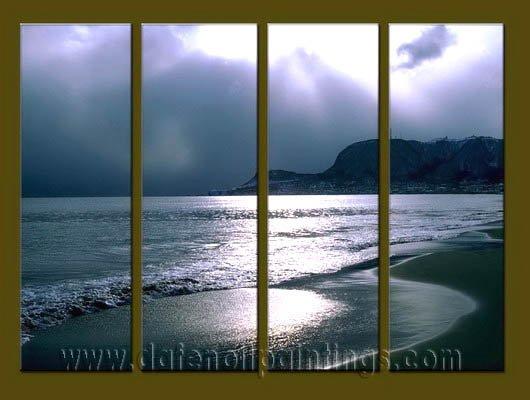 Modern Contemporary oil paintings on Canvas sunrise painting set10070