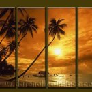 Modern Contemporary oil paintings on Canvas sunrise painting set10071