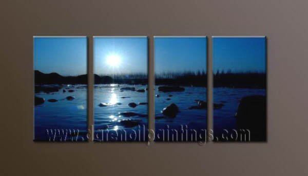 Modern Contemporary oil paintings on Canvas sunrise painting set10072