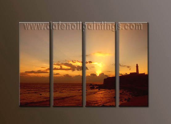 Modern Contemporary oil paintings on Canvas sunrise painting set10074