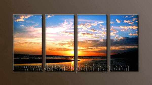 Modern Contemporary oil paintings on Canvas sunrise painting set10075