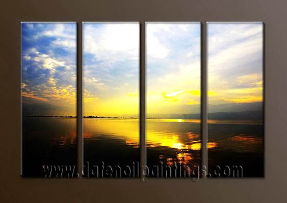 Modern Contemporary oil paintings on Canvas sunrise painting set10077