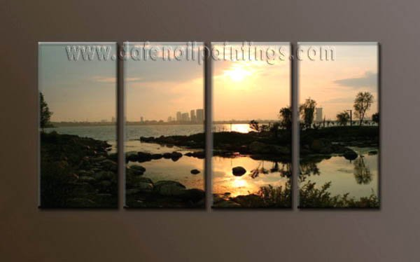 Modern Contemporary oil paintings on Canvas sunrise painting set10078