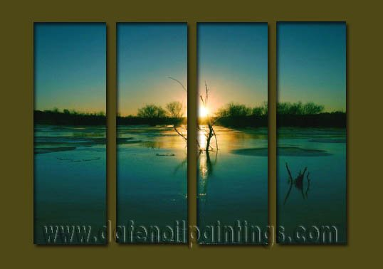 Modern Contemporary oil paintings on Canvas sunrise painting set10080