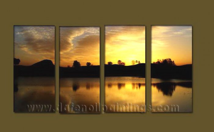 Modern Contemporary oil paintings on Canvas sunrise painting set10083
