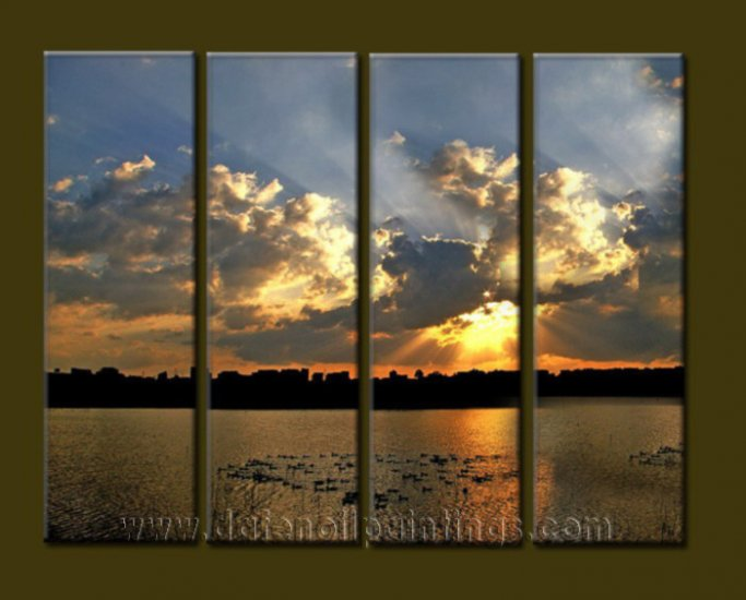 Modern Contemporary oil paintings on Canvas sunrise painting set10087