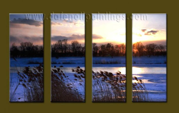 Modern Contemporary oil paintings on Canvas sunrise painting set10090