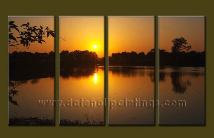 Modern Contemporary oil paintings on Canvas sunrise painting set10093