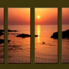Modern Contemporary oil paintings on Canvas sunrise painting set10095